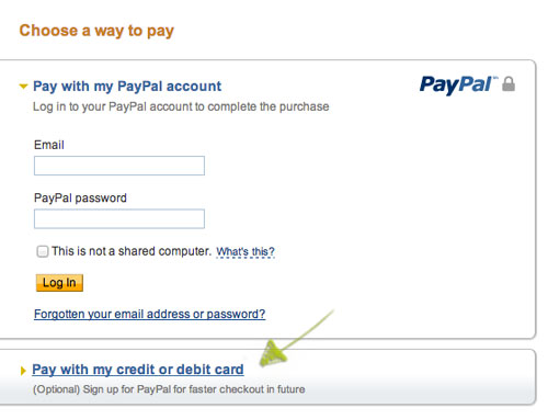 pay by credit card via paypal's secure server
